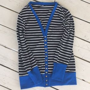 Long sleeve snap button cardigan black & white NEW